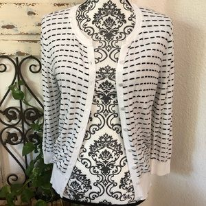 Cable and gauge black and white cardigan